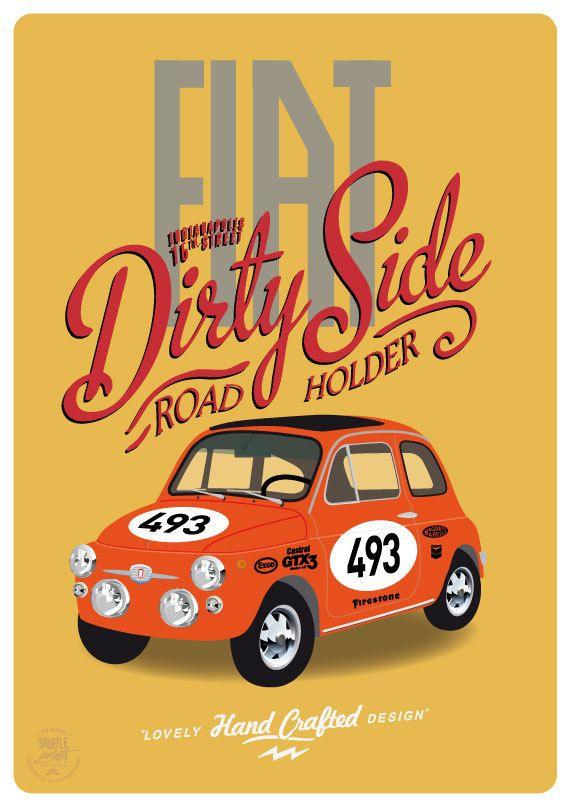 fiat fiat 500 sport vintage race car poster by shuffleprints mycarlove pinterest voitures. Black Bedroom Furniture Sets. Home Design Ideas