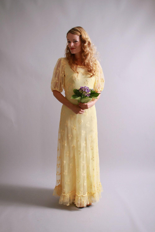 1930s style wedding dresses  s dress and slip  s yellow sheer mesh garden party wedding