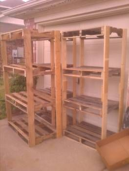 Easy diy pallet garage shelving google search project for Making storage shelves out of pallets