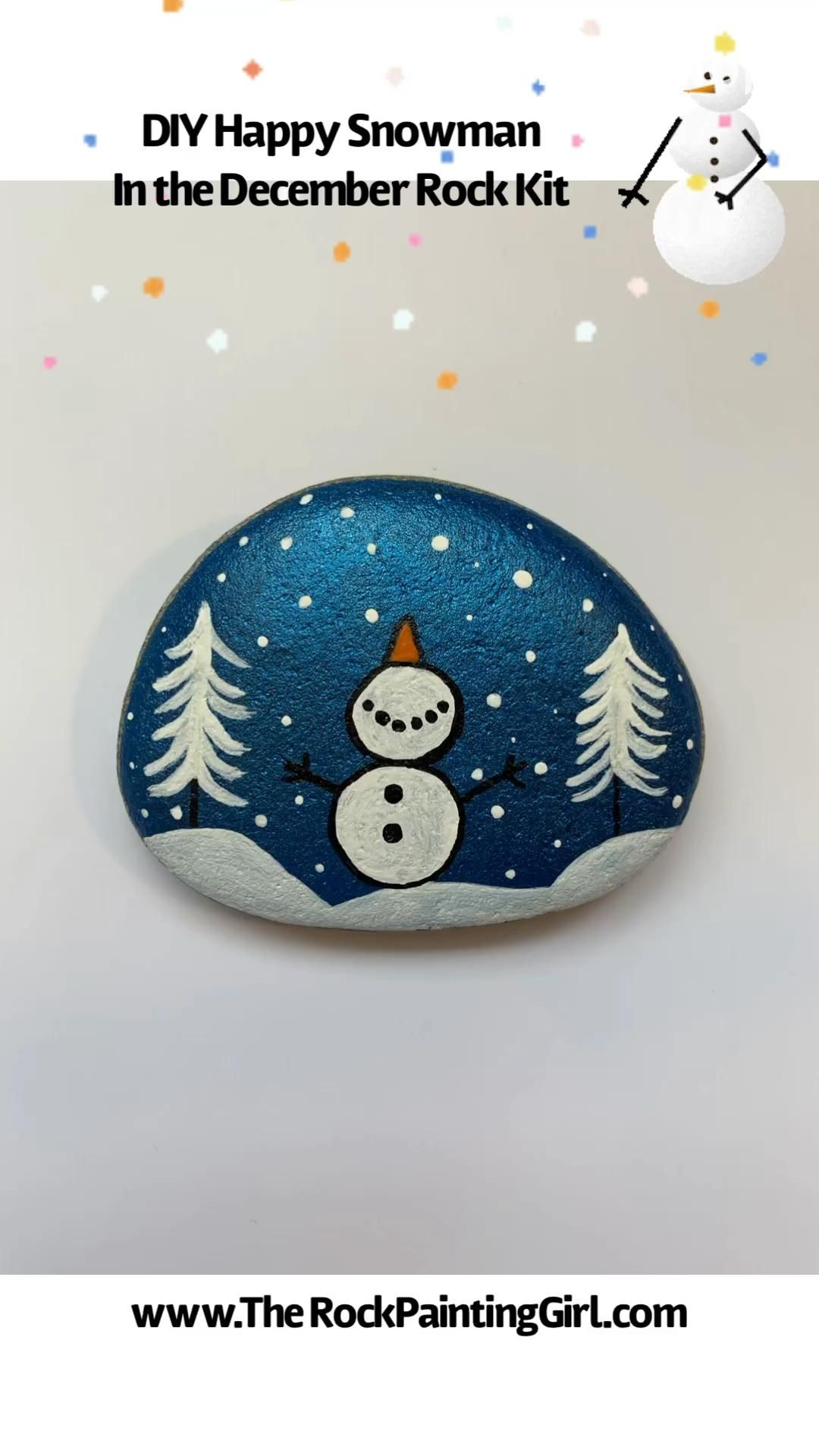 Snowman, Snowman Painting, DIY Rock Painting, Chri