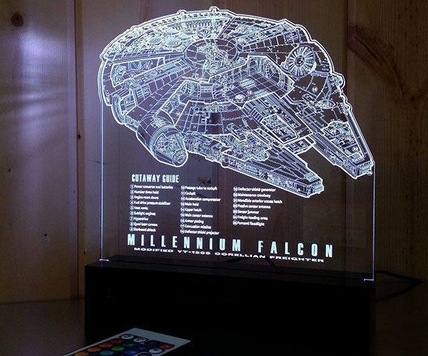 Millennium Falcon Laser Engraved LED Light » COOL SH*T i BUY