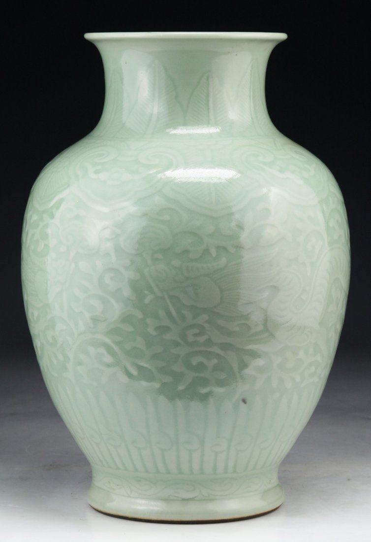 A Chinese Antique Celadon Dragon Porcelain Vase On Celadon Porcelain Porcelain Vase