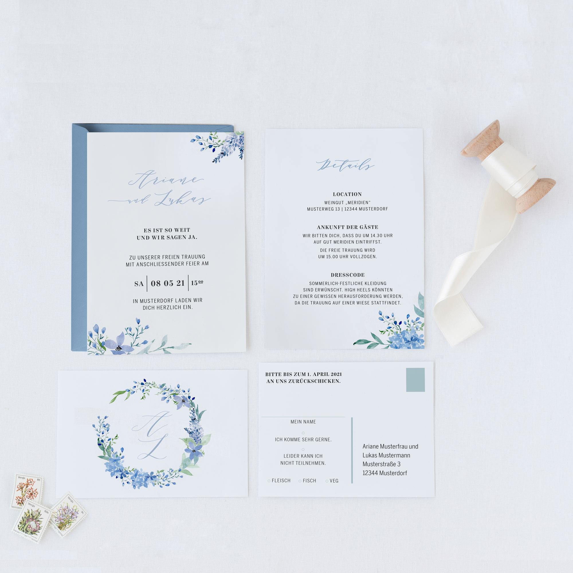 Ab 15 Stuck Hochzeitseinladung Mit Aquarellblumchen In Etsy Hochzeitseinladung Einladungen Hochzeit