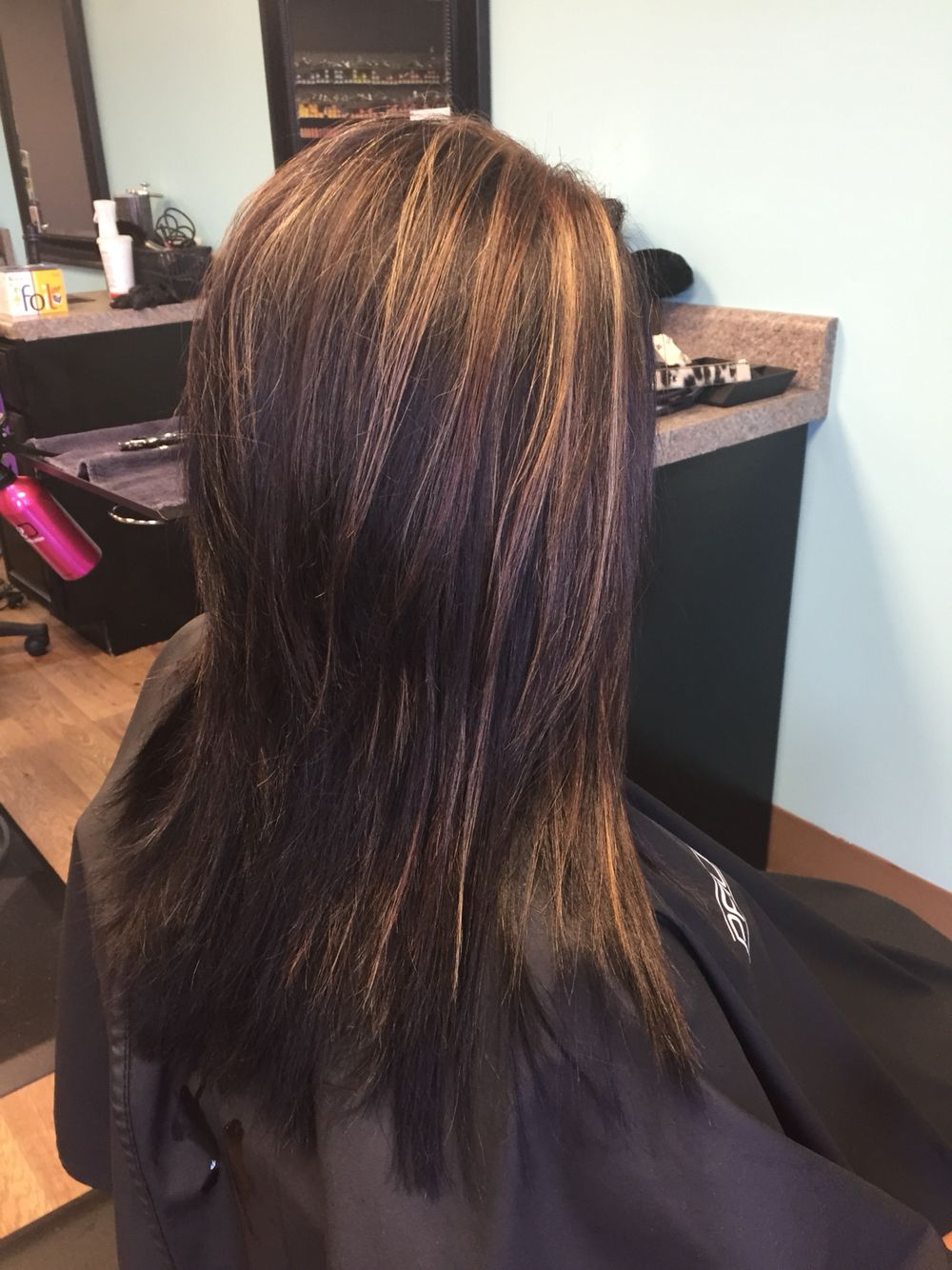 Deep Rich Brown With Caramelized Highlights Throughout In