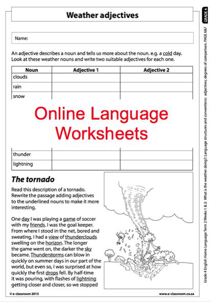 grade 4 online language worksheet weather adjectives for. Black Bedroom Furniture Sets. Home Design Ideas