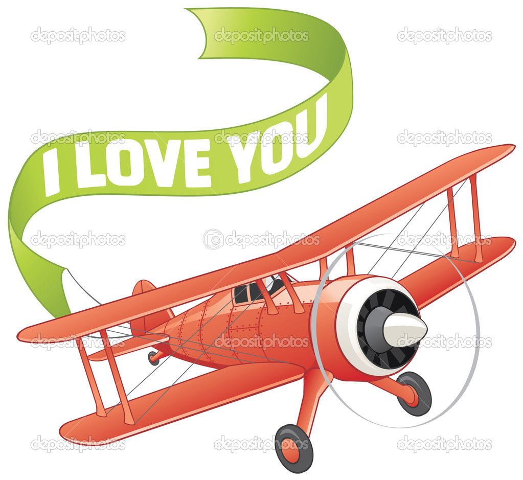 Plane With Love Banner Banner Drawing Cartoon Airplane Airplane Illustration