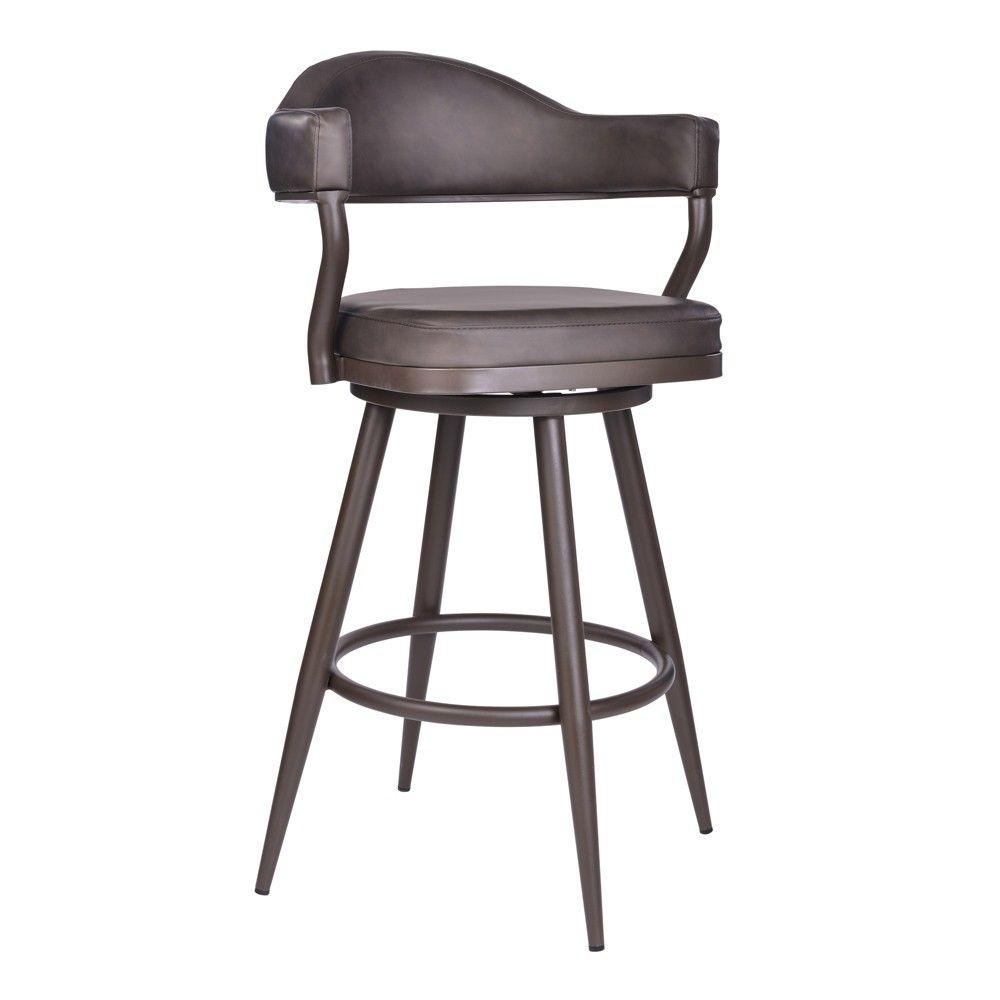 30 Armen Living Justin Bar Height Barstool Vintage Brown Bar Stools Swivel Bar Stools Upholstered Bar Stools Armen living bar stools
