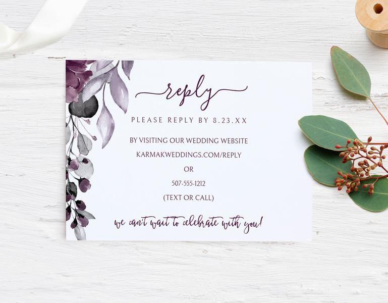 Rsvp Card Template Secret Garden Plum Purple Templett Rsvp Wedding Cards Wording Online Wedding Cards Rsvp Wedding Cards