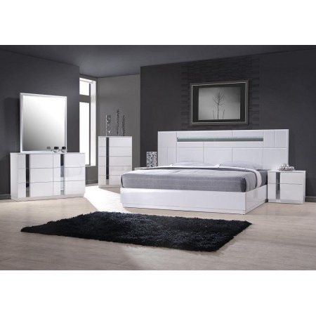 Best J Palermo Contemporary King Bedroom Set In White Lacquer 400 x 300