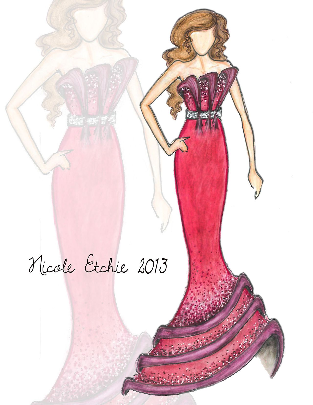 Pink dress drawing  Lady in Red