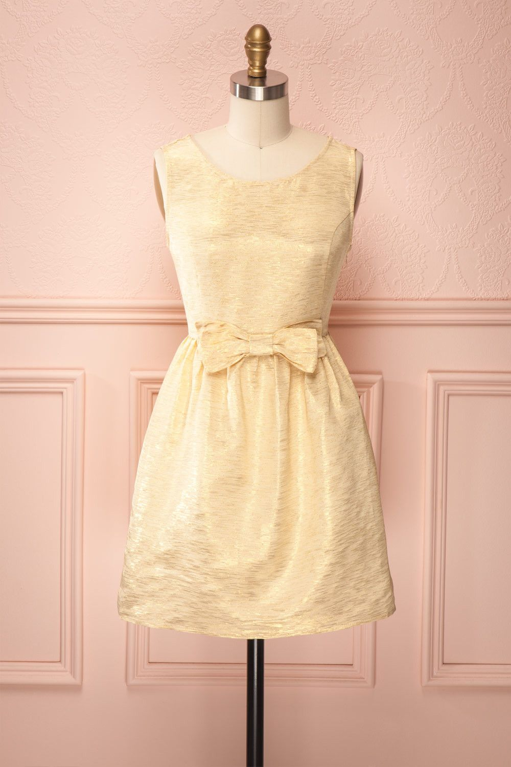 Ethel - Bright gold textured dress with front bow