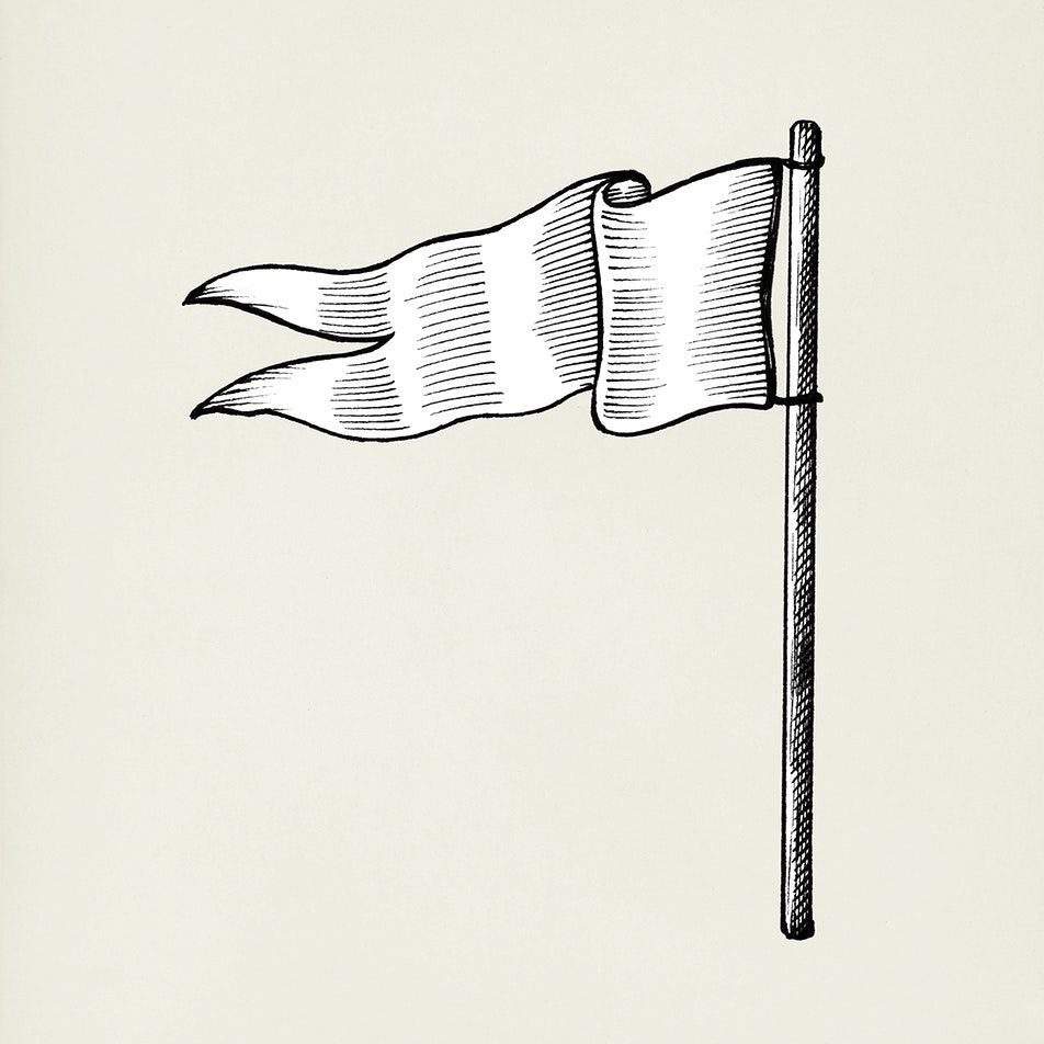 Download Premium Illustration Of Hand Drawn White Flag Isolated On Flag Drawing How To Draw Hands Black And White Flag