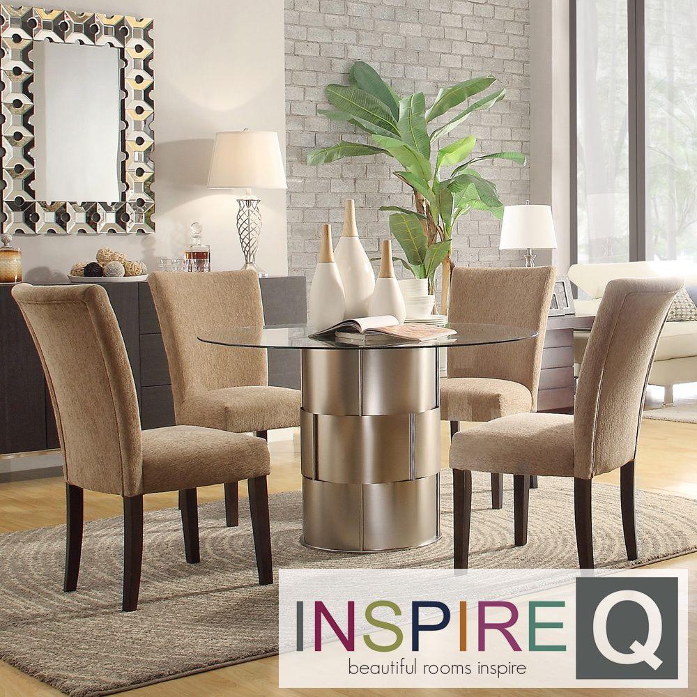 Kona 5-piece Carmel Chenille Chrome Barrel Dining Set | Overstock.com  Shopping -