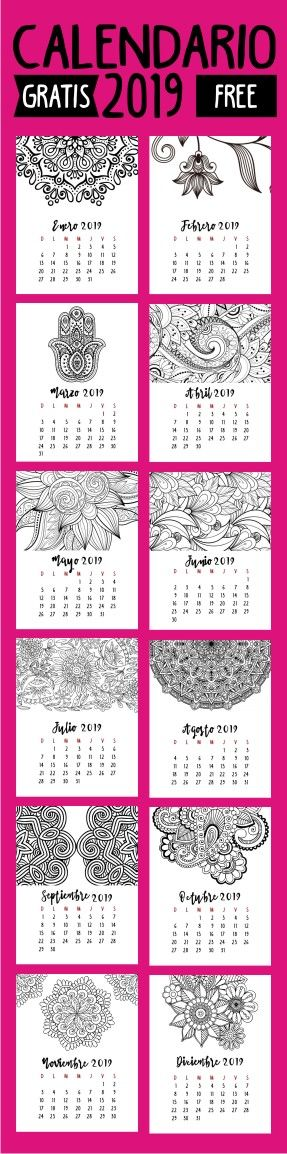 Calendario 2019 Autocuidado Calendarios Imprimibles