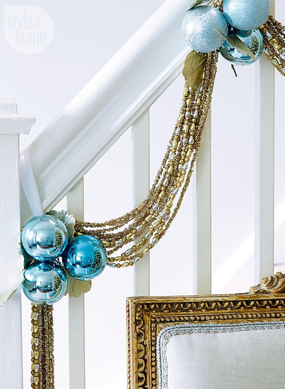 House Tour Timeless And Modern Christmas Style At Home Blue Christmas Decor Christmas Banister Modern Christmas
