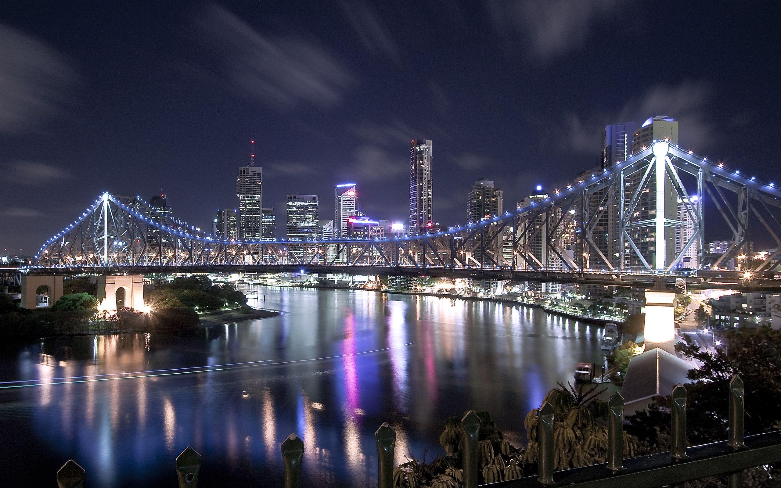 City Scene Bridge Wallpaper Brisbane Australia City Scene