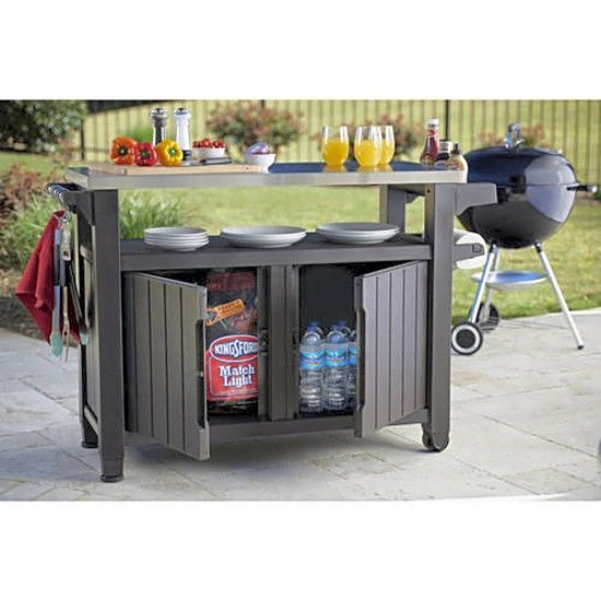 Keter Unity Xl 78 Gallon Outdoor Storage Table Grill Cart Prep Serving Station Generic Patio Storage Bbq Table Outdoor Kitchen