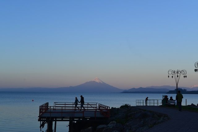 View of Volcan Osorno and Lago Llanquihue in Puerto Varas in The Lake District Chile