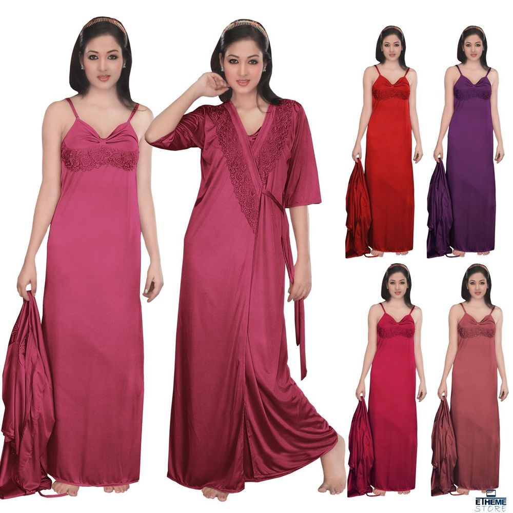 LADIES 2PC SATIN NIGHTY DESIGNER DRESSING GOWN CHEMISE ROBE WOMENS  NIGHTDRESS in Clothes f22968685