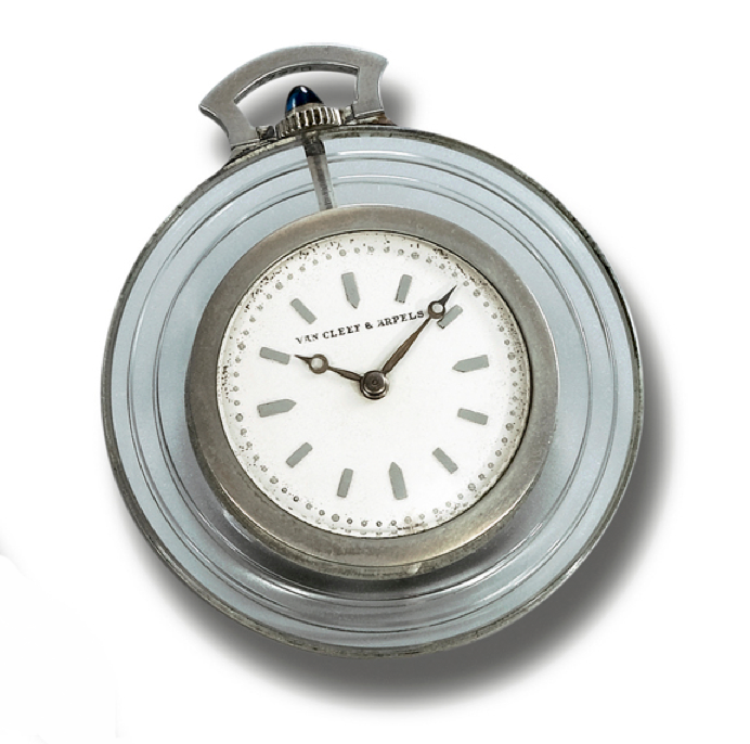 POCKET WATCH, VAN CLEEF & ARPELS 1930S of circular form, the dial applied with baton numerals within a reeded rock crystal surround, the crown highlighted by a cabochon sapphire, dial signed Van Cleef & Arpels