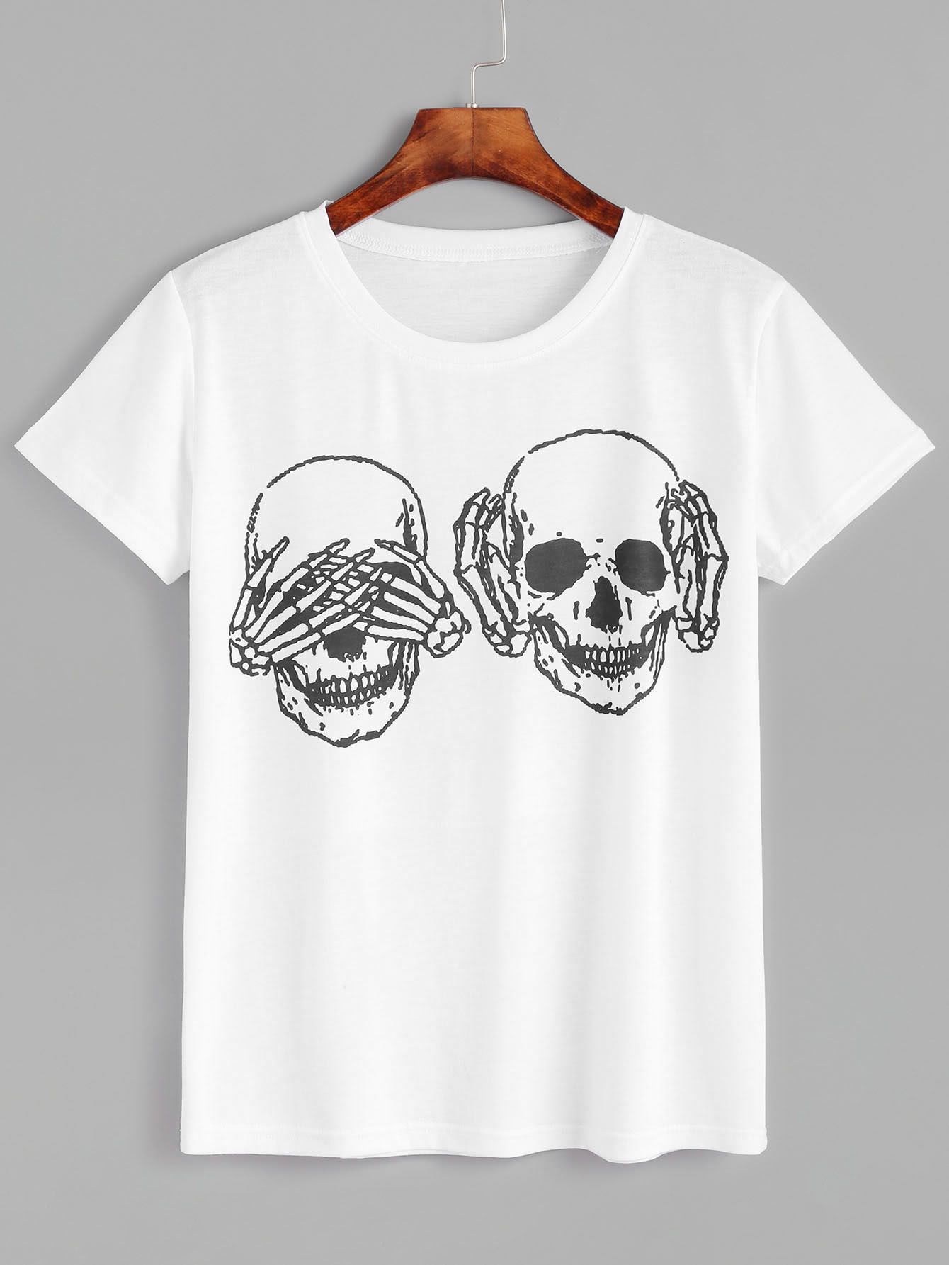 Shop Skull Print T-shirt online. SheIn offers Skull Print T-shirt & more to fit your fashionable needs.