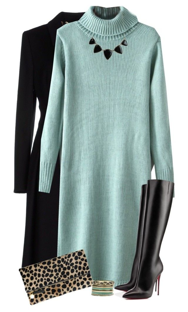 """""""Blue Sweater Dress"""" by daiscat ❤ liked on Polyvore featuring ESCADA, Christian Louboutin, Clare V., House of Harlow 1960 and Wet Seal"""