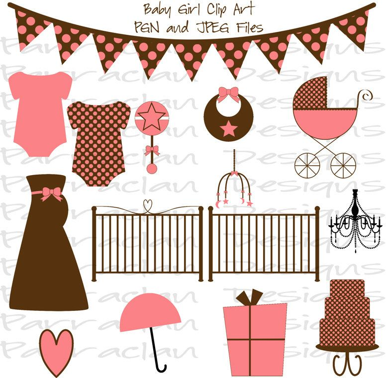 INSTANT DOWNLOAD - Baby Girl Clip Art - Scrapbooking, Invitations ...