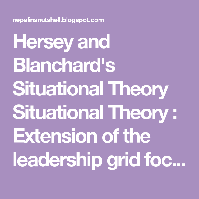 hersey and blanchards situational theory