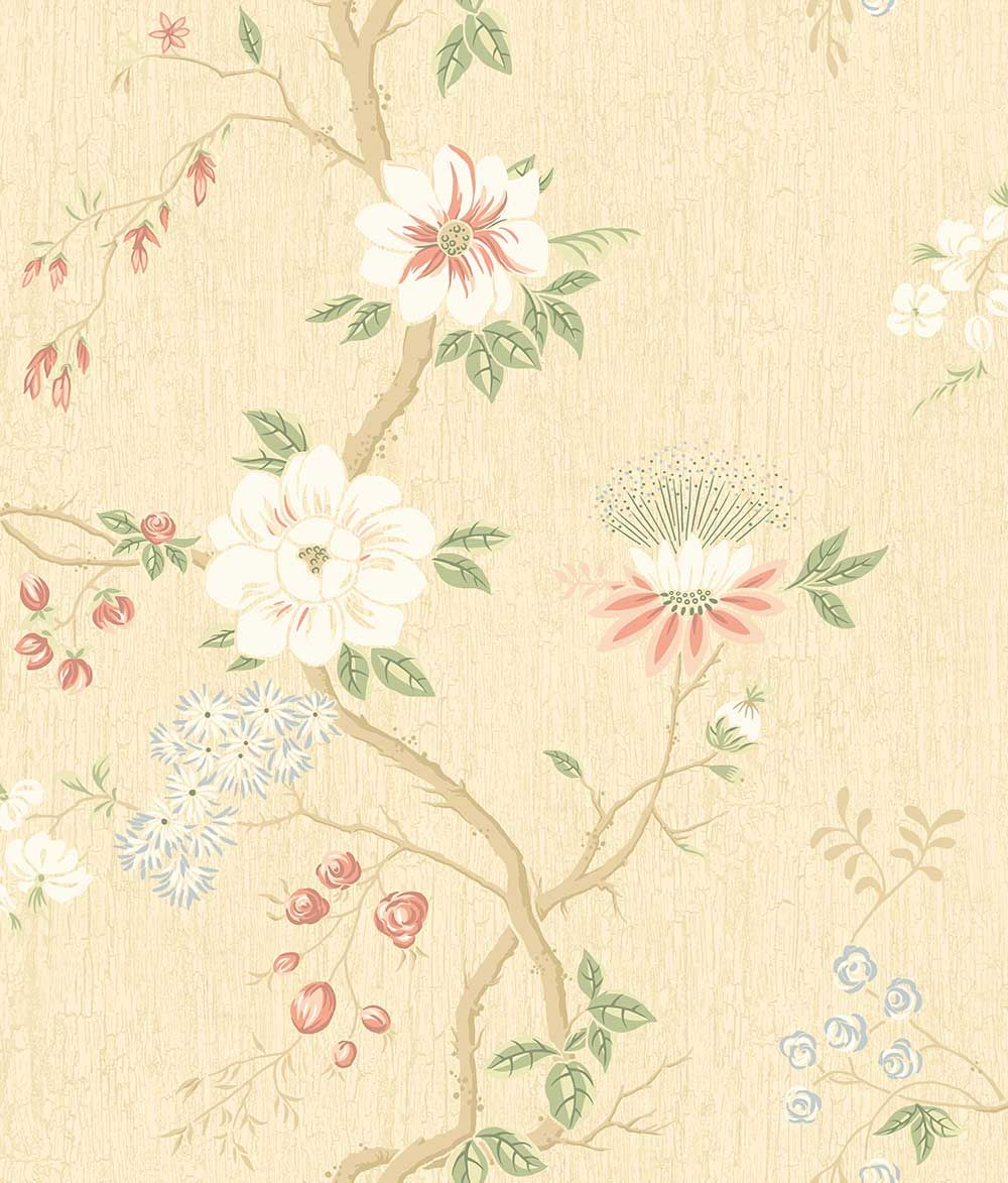 Camellia by Cole & Son - Coral / Sage / Buttercup - Wallpaper : Wallpaper Direct