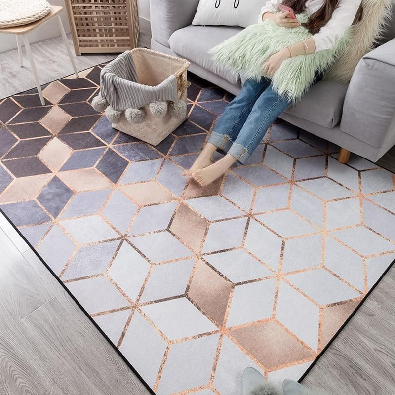Rose Gold Euclid Rug Eills Collection Rose Gold Room Decor Rugs On Carpet Gold Room Decor