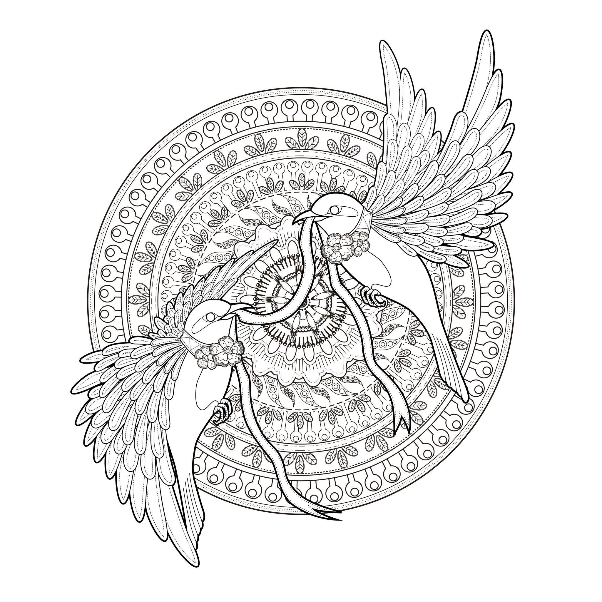 Mandala deux hirondelles et un ruban par kchung a partir - Mandalas adultes gratuits ...