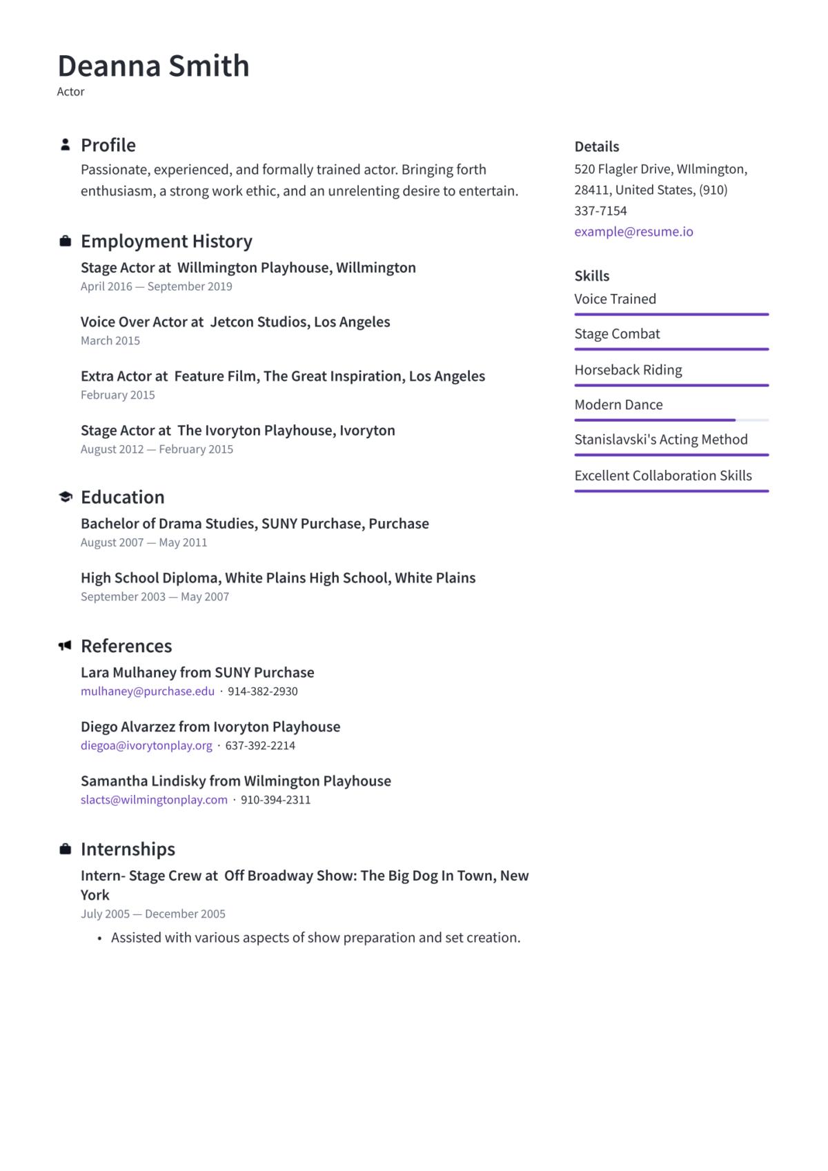 Actor Resume Templates 2020 (Free Download) · Resume.io