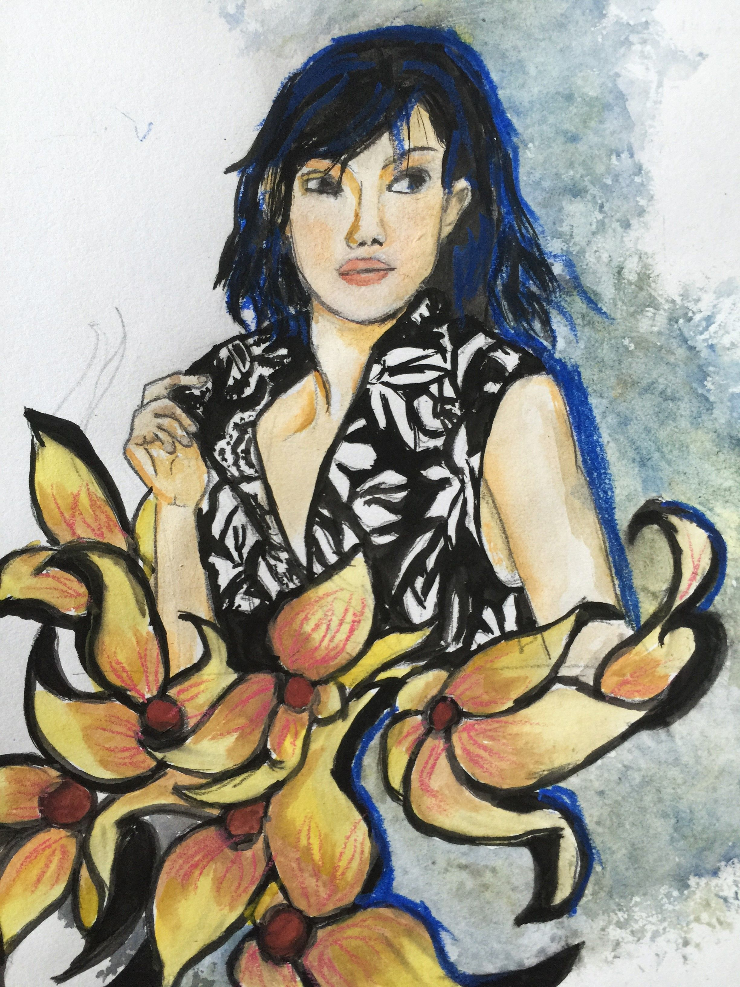 floral fashion inspried by magazine model - watercolour and oil pastel