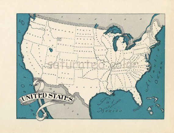 High Res Us Map.Usa Map Map Art High Res Digital Image 1930s Vintage Au Pair