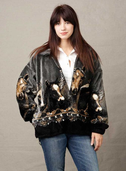 Heavy Fleece Jackets for Women, Mazmania Pewter Horses Jacket ...