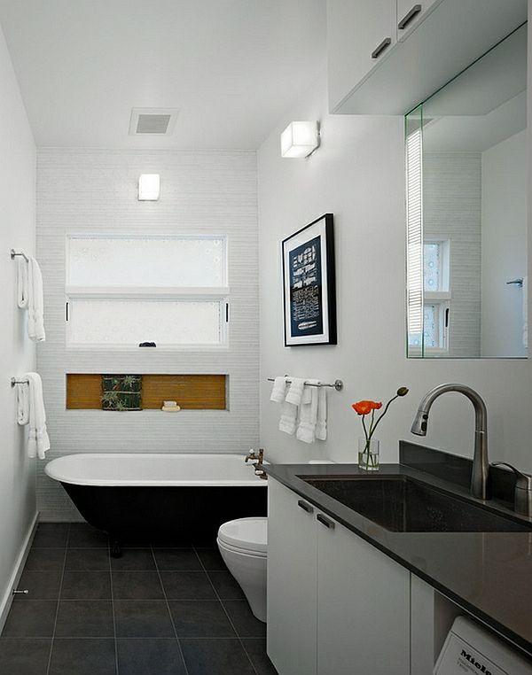 Moderne Badezimmer Ideen Farbgestaltung Schwarz Weiß Freistehende Badewanne  In Schwarz