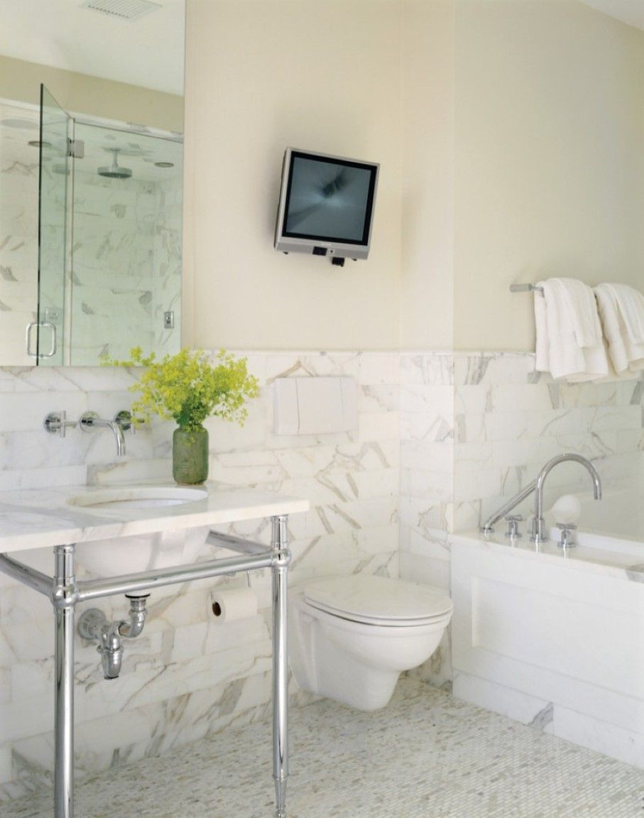 Marble Bathroom Wall Idea Feat Pedestal Sink And Modern Wall Mount Faucet  Plus Floating Toilet Under