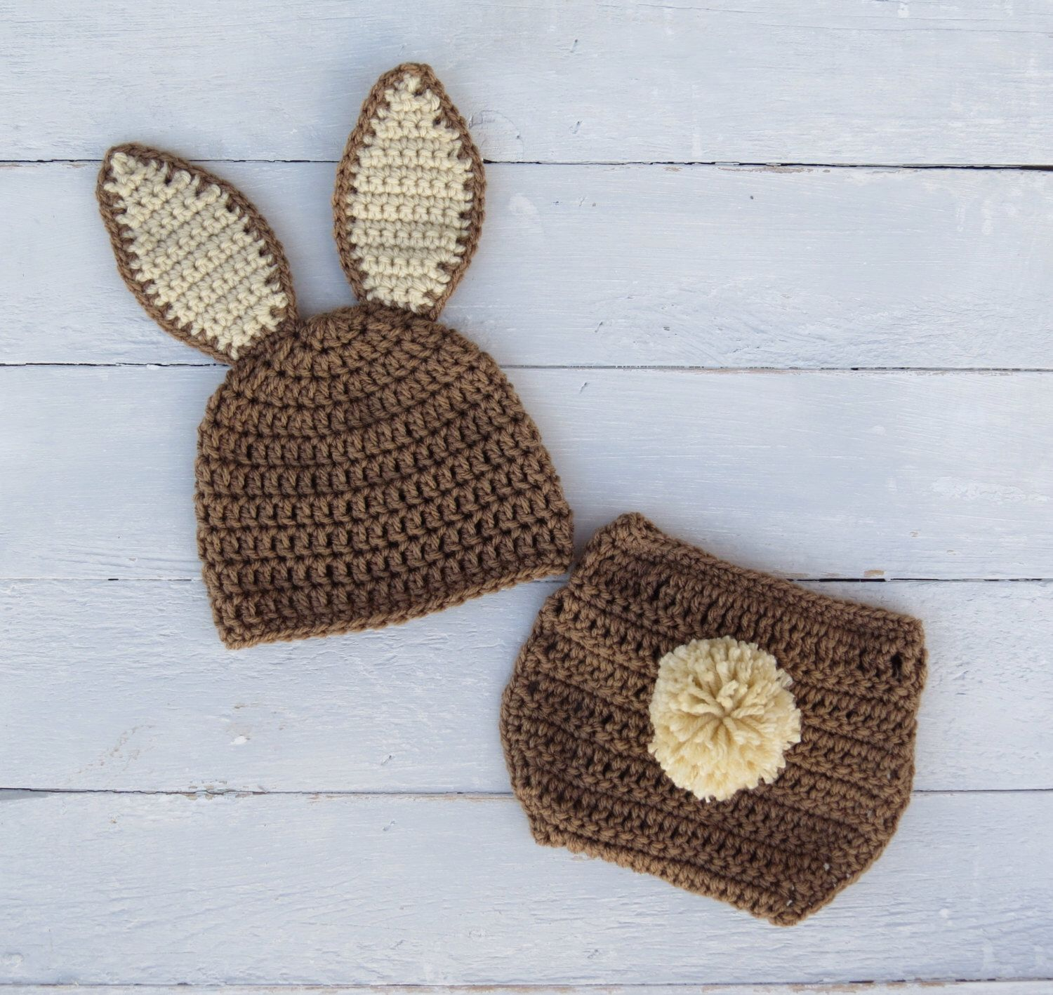 f5646890045 Items similar to Brown Bunny Hat and Diaper Cover   Baby Bunny Outfit    Bunny Photo Prop   Easter Photo Prop   Crochet Rabbit Outfit   Crochet Baby  Outfit ...