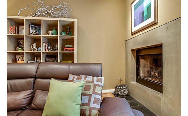 Pretty, sleek fireplace