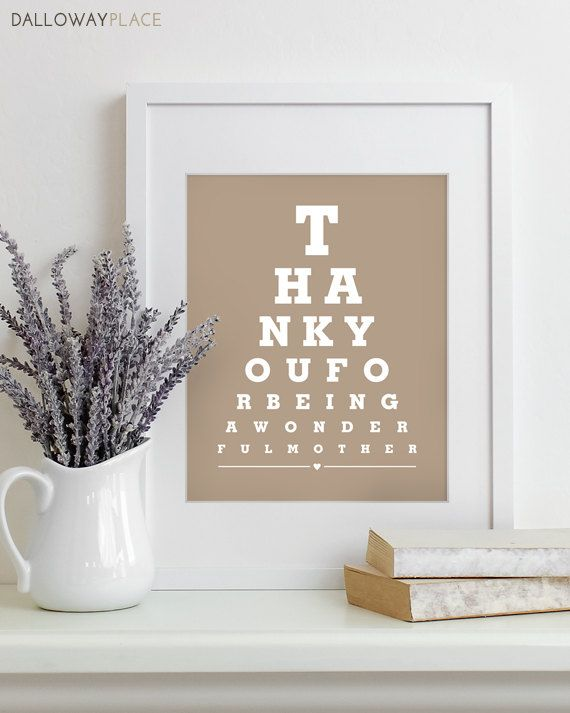 Mothers Day Gift For Mom Art Print Eye Chart - quote art typography