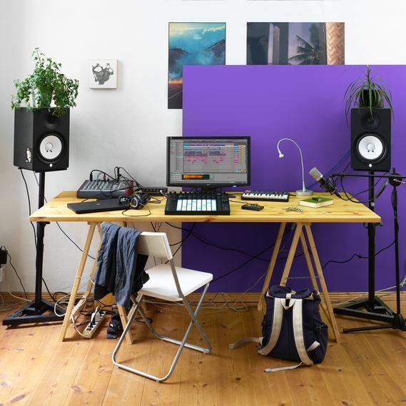 Bedroom Home Electronic Music Production Studio Monitors Plants