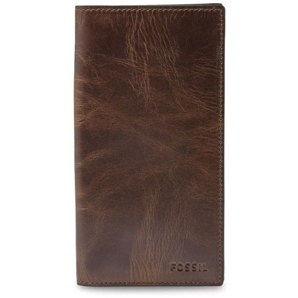 Fossil Dark Brown Derrick Leather Executive Checkbook Wallet ($55) ❤ liked on Polyvore featuring men's fashion, men's bags, men's wallets, dark brown, mens leather checkbook wallet, fossil mens wallet and mens leather wallets
