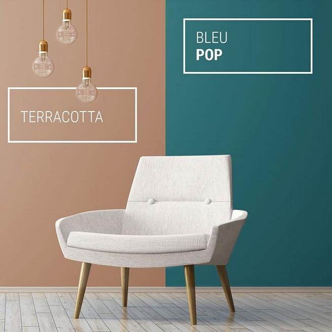Peinture Ripolin : êtes vous plutôt Terracotta ou Bleu Pop ? #peinturesalontendance
