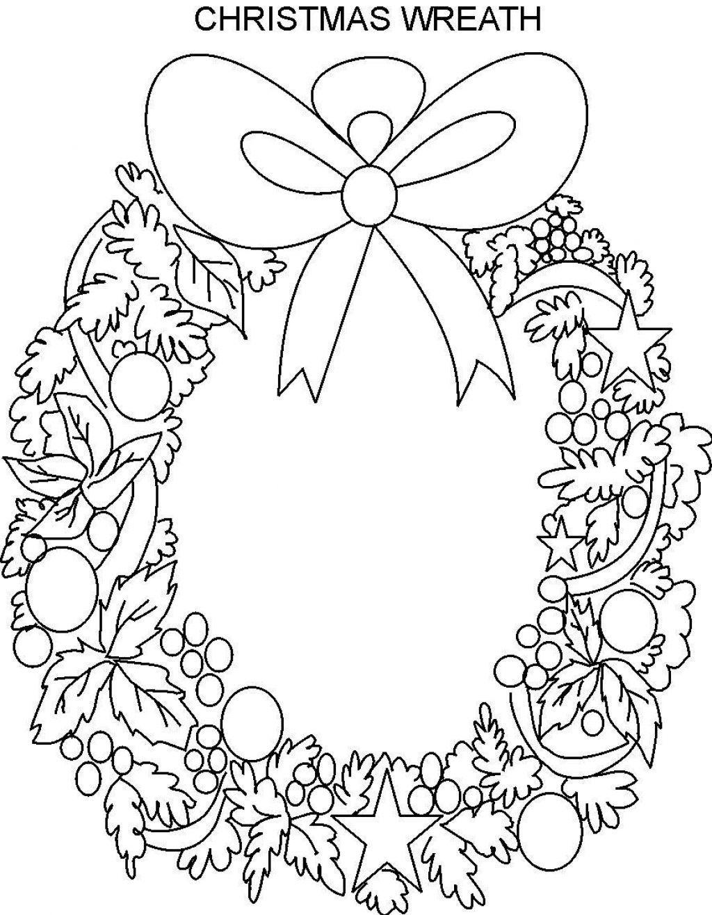 Christmas Wreath Coloring Printable