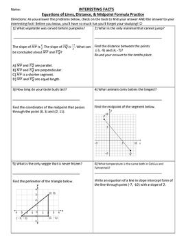 Distance Midpoint Equations Of Lines Fun Fact Activity With