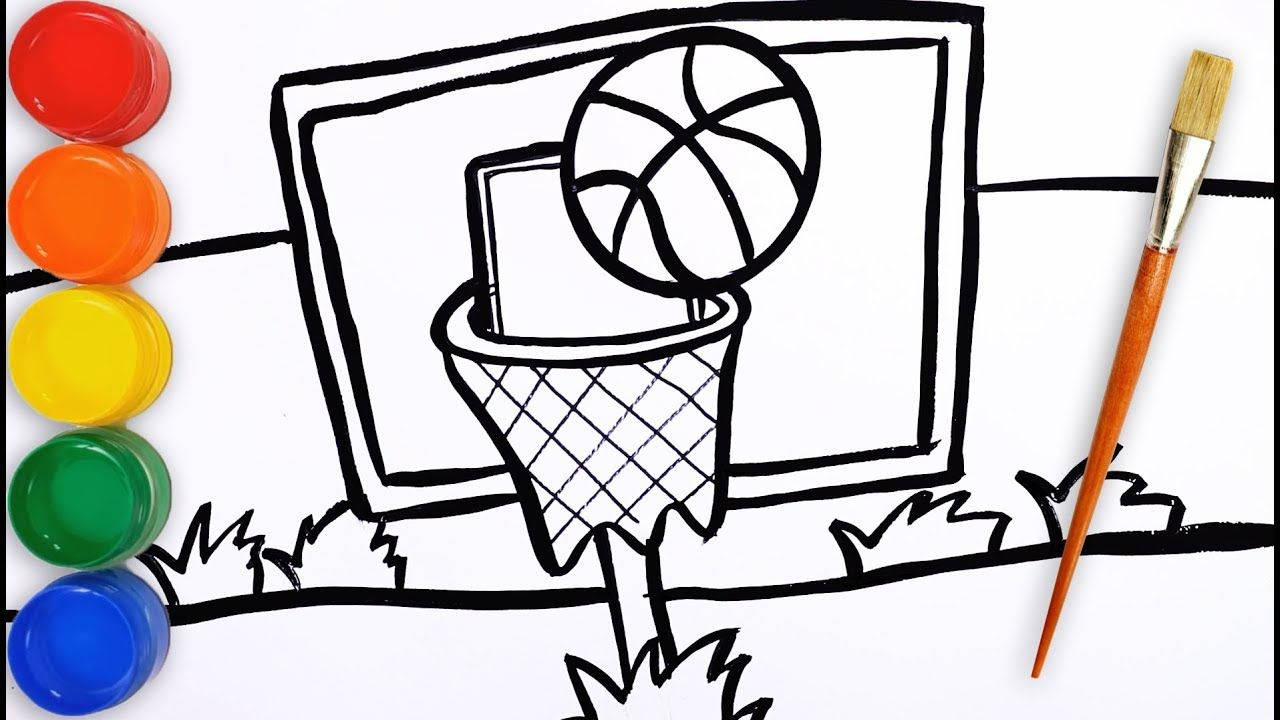 How To Draw A Basketball Court For Kids Draw Kids Drawing For Kids Drawings Drawing Tutorial