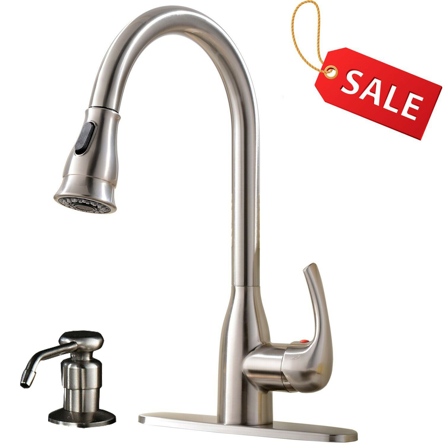 Single Handle Kitchen Sink Faucet Pull Down Sprayer Brushed Nickel Mixer Tap Kitchen Faucets Ideas Of Kitchen Kitchen Sink Faucets Sink Faucets Mixer Taps