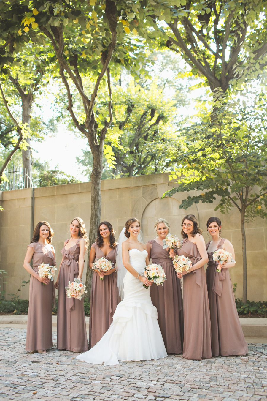 Elegant meridian house wedding taupe bridesmaid peach bouquet elegant meridian house wedding mauve bridesmaid dressesbeautiful ombrellifo Images