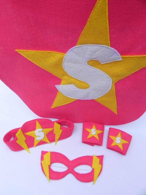 Complete Superhero Girl Pink Superhero cape mask belt by BabyDear, $35.00 @June Kuiper Kuiper Pullman Cupcake