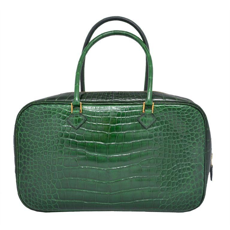 Hermes Paris Vert Fonce Dark Green Crocodile 28 Cm Plume Handbag 1stdibs